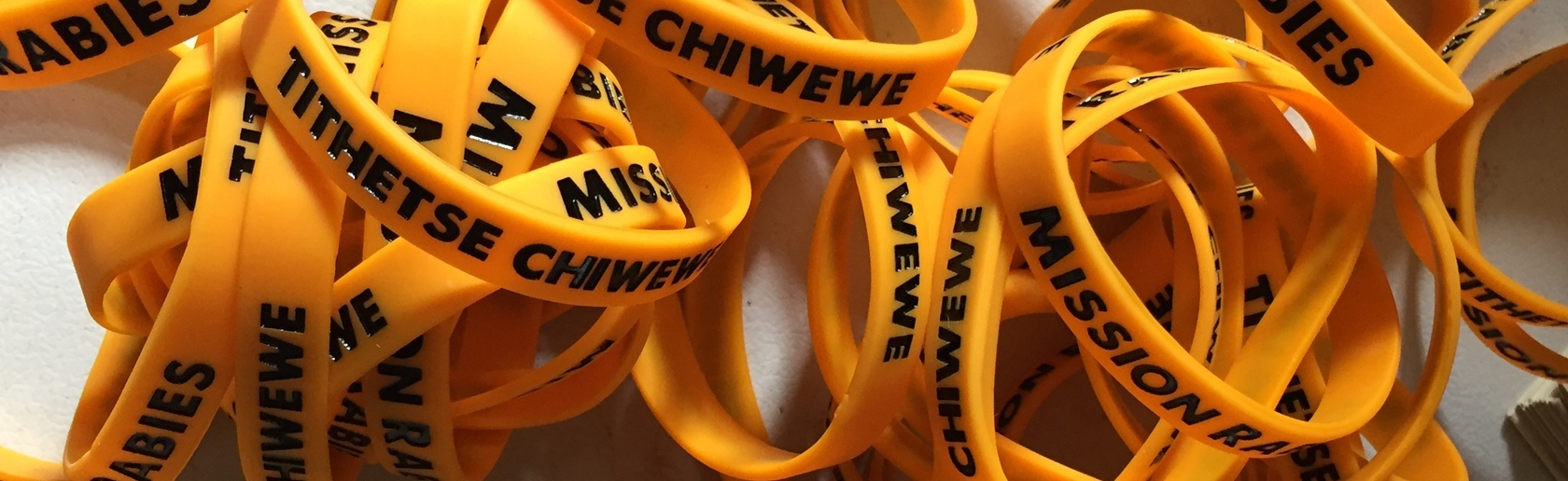 Pile of rubber wristbands with Mission Rabies and Tithetse Chiwewe written on them
