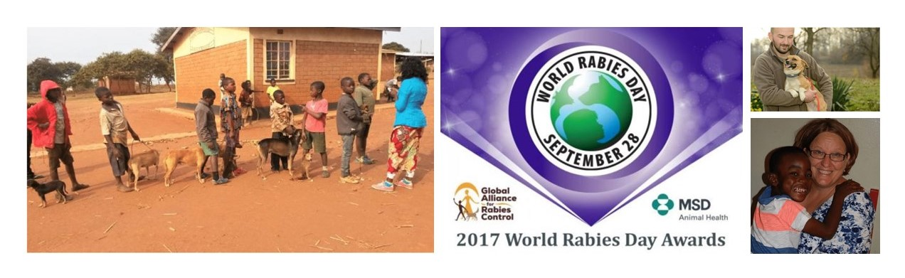Montage of images including children in a queue with their dogs in front of a clinic, the World Rabies Day Awards 2017 logo, a man holding a dog and a smiling woman holding a small boy