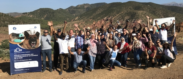 Group of people on top of a mountain, with their hands in the air and next to a large banner publicising a rabies conference