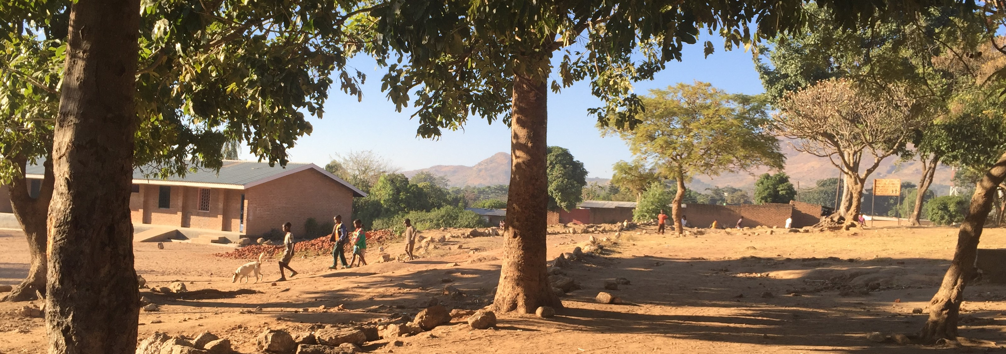 Village seen through trees, with children walking down a small hill with a dog