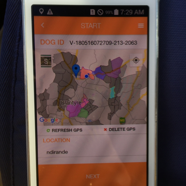 Map displayed on a mobile phone showing vaccination areas in Blantyre
